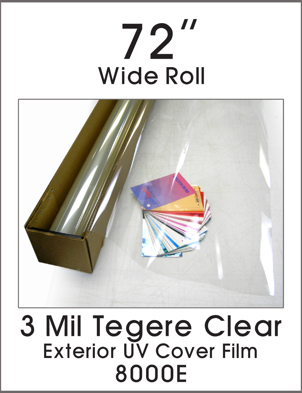 "3 Mil Tegere Clear - Exterior UV Cover Film - 72"" - 8000E - Colored Window Film"