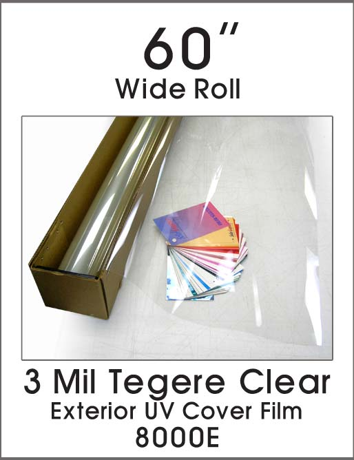 "3 Mil Tegere Clear - Exterior UV Cover Film - 60"" - 8000E - Colored Window Film"
