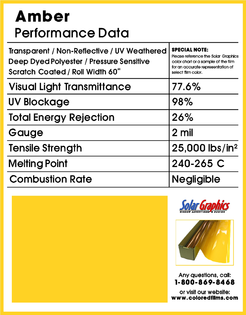 Amber Solar Graphics Colored Window Film For Glass 2400