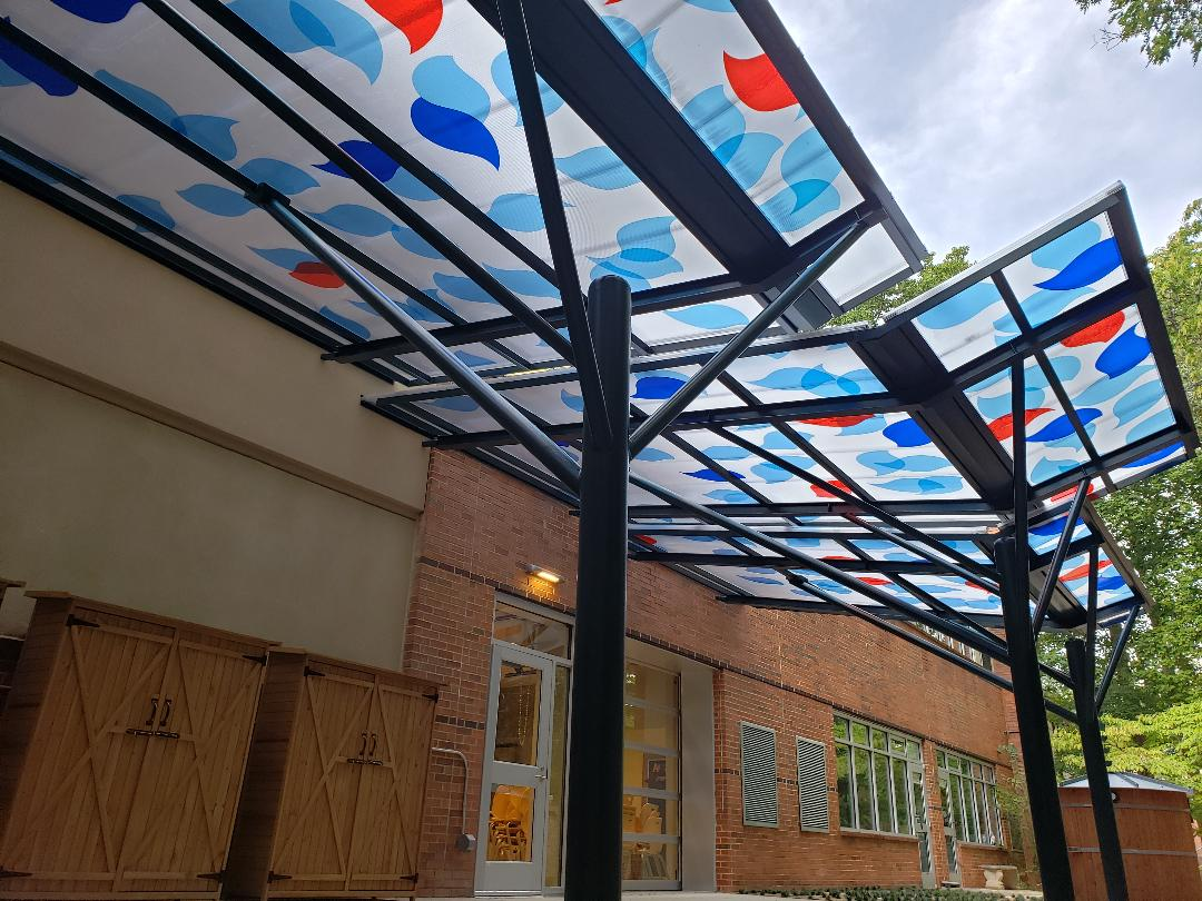 Evergreen Construction - St Martin's School - Colored Leaf Canopy Design