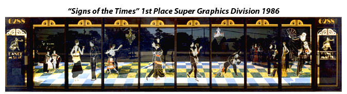 Storefront Colored Window Graphics - Ballroom Dance Studio (Color Film Glass Design)