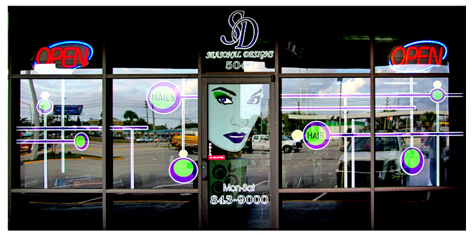 Storefront Colored Window Graphics - Seasonal Designs Hair Salon (Color Film Glass Design)