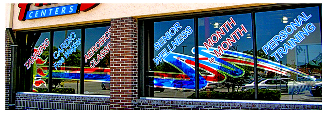 Storefront Colored Window Graphics - Family Fitness Center (Color Film Glass Design)