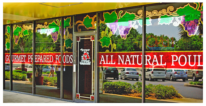 Storefront Colored Window Graphics - Surf & Turf Deli Market (Color Film Glass Design)
