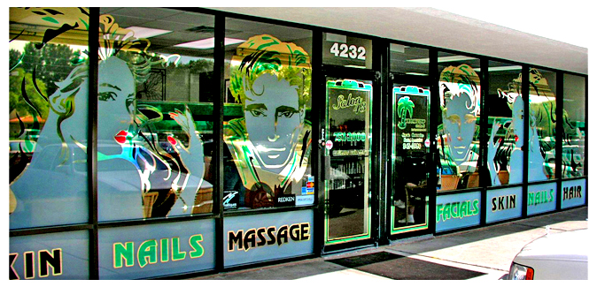 Storefront Colored Window Graphics - Salon 43 (Color Film Glass Design)