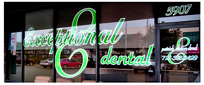 Storefront Colored Window Graphics - Exceptional Dental (Color Film Glass Design)