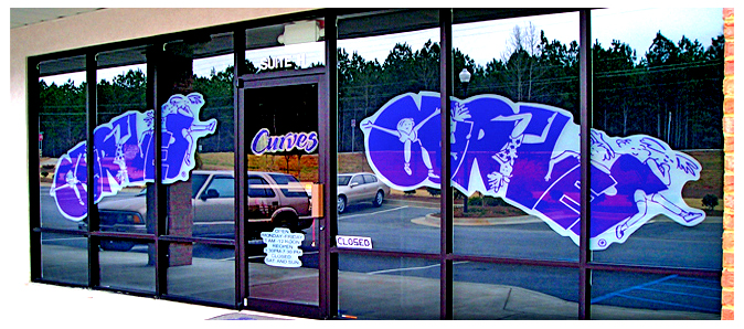 Storefront Colored Window Graphics - Curves (Color Film Glass Design)