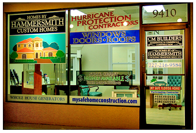 Storefront Colored Window Graphics - CM Builders (Color Film Glass Design)