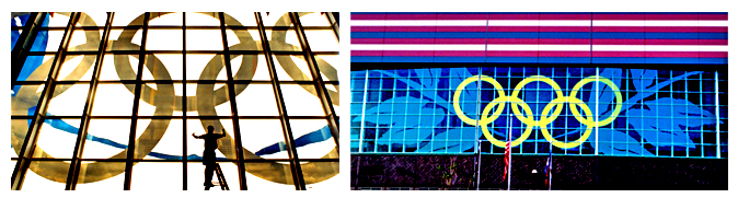 Storefront Colored Window Graphics - Olympics 1996 (Color Film Glass Design)