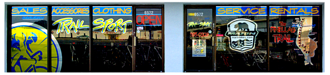 Storefront Colored Window Graphics - Trailsport (Color Film Glass Design)