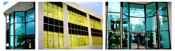 Storefront Colored Window Graphics - Architectural Colored Film (Color Film Glass Design)