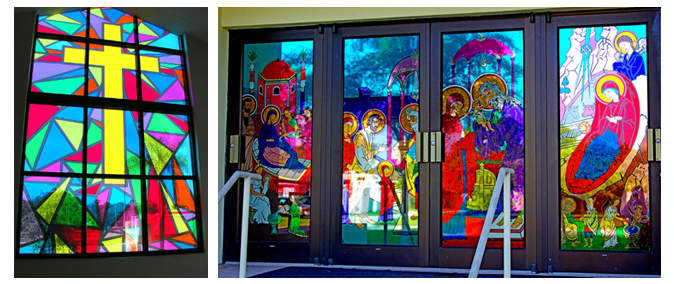 Storefront Colored Window Graphics - Church Graphics (Color Film Glass Design)