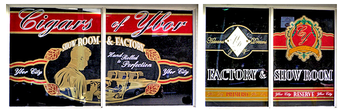 Storefront Colored Window Graphics - Cigars of Ybor (Color Film Glass Design)
