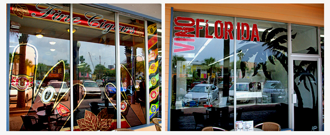 Storefront Colored Window Graphics - Fine Cigars - Vino Florida (Color Film Glass Design)