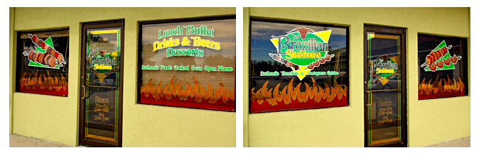 Storefront Colored Window Graphics - Brazilian Steakhouse (Color Film Glass Design)
