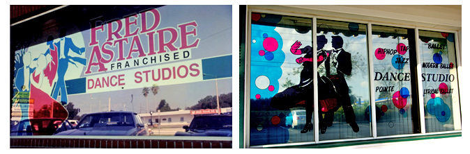 Storefront Colored Window Graphics - Dance Studios (Color Film Glass Design)