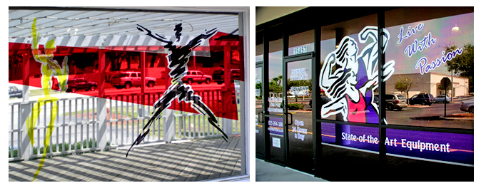 Storefront Colored Window Graphics - Fitness Centers (Color Film Glass Design)