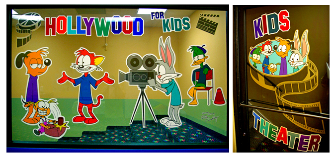 Storefront Colored Window Graphics - Family Fitness Center Kids Room - Ham & Stripes (Color Film Glass Design)