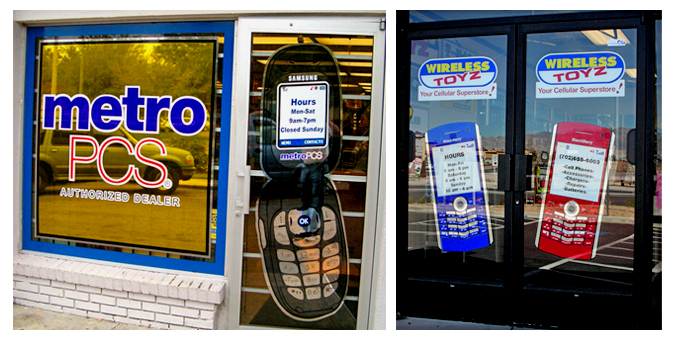 Storefront Colored Window Graphics - MetroPCS (Color Film Glass Design)