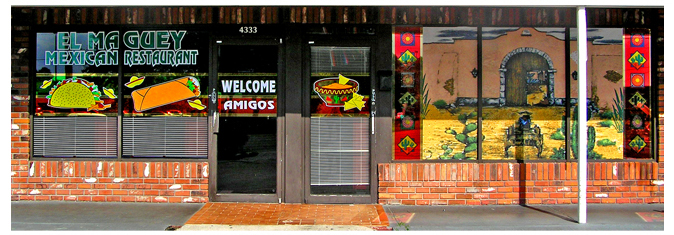 Storefront Colored Window Graphics - El Maguey Mexican Restaurant (Color Film Glass Design)