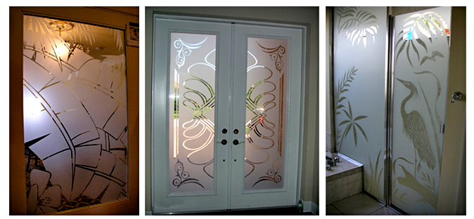 Storefront Colored Window Graphics - Etch Designs (Color Film Glass Design)