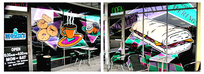 Storefront Colored Window Graphics - Moxie's Cafe (Color Film Glass Design)