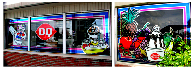 Storefront Colored Window Graphics - Dairy Queen (Color Film Glass Design)