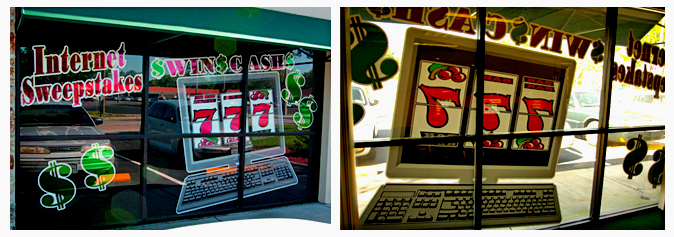 Storefront Colored Window Graphics - Internet Sweepstakes (Color Film Glass Design)