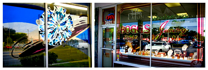 Storefront Colored Window Graphics - Bogg's Jewelers (Color Film Glass Design)