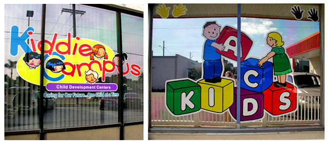 Storefront Colored Window Graphics - Kiddie Corner (Color Film Glass Design)