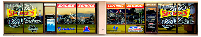 Storefront Colored Window Graphics - Spokes (Color Film Glass Design)