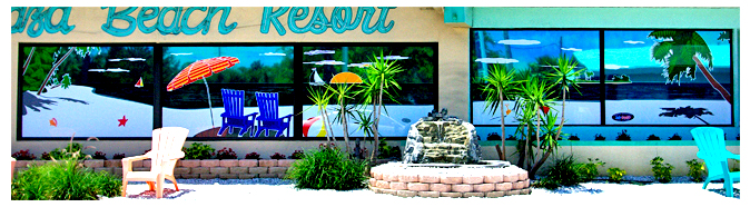 Storefront Colored Window Graphics - Plaza Beach Resort (Color Film Glass Design)