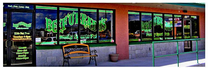 Storefront Colored Window Graphics - Beef O Brady's (Color Film Glass Design)