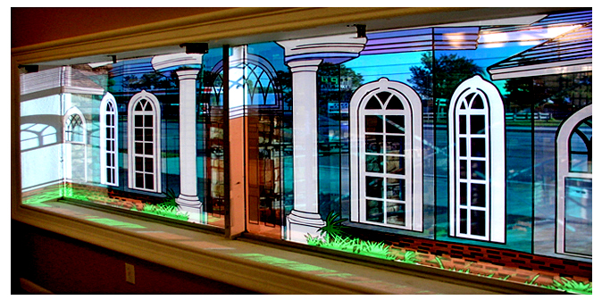 Storefront Colored Window Graphics - Architectural Colums & Pillars (Color Film Glass Design)