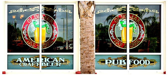 Storefront Colored Window Graphics - Oldsmar Taphouse (Color Film Glass Design)