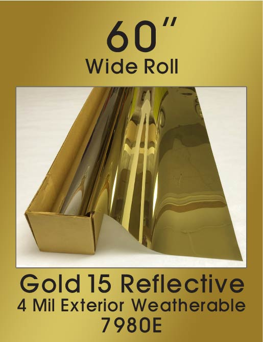 "Gold 15 - 4 Mil Exterior Weatherable - 60"" - 7980E - Colored Window Film"
